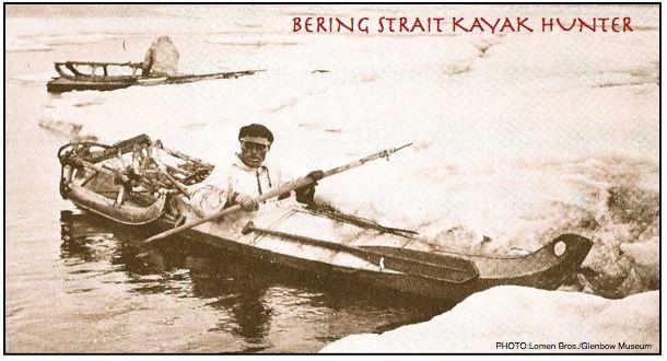 NATIVE-KAYAKER AT ICE FLOW