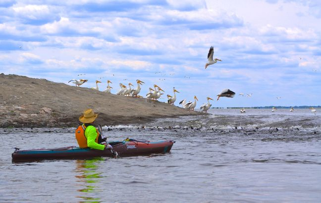 SCENIC-KAYAKER AT SPILLWAY