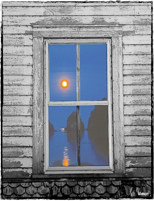 ART-MOON OVER WATER IN WINDOW