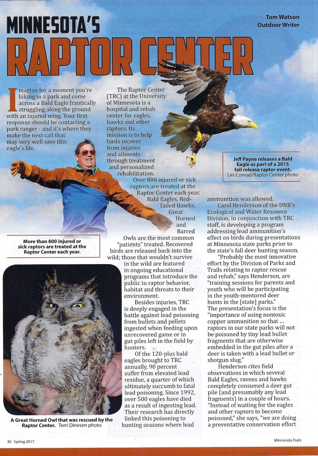 ARTICLE-RAPTOR CENTER-MN TRAILS