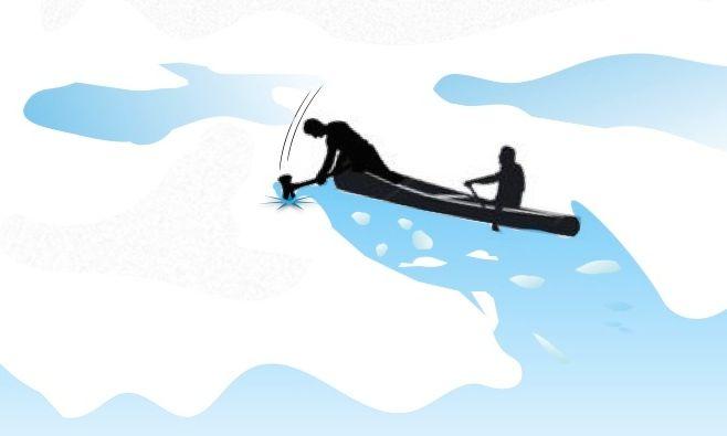 ILLUST-CANOE IN ICE
