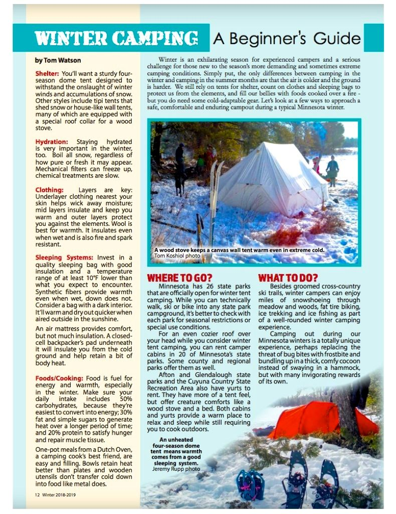 MN TRAILS MAGAZINE-WINTER CAMPING